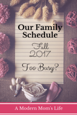 Our Family Schedule Fall 2017 - Too Busy?