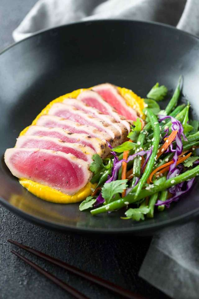 Seared Ahi Tuna With Crispy Sesame Green Beans A Gourmet Recipe Made Right At Home