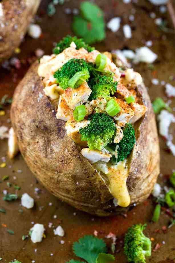 simple dinner ideas, Chicken Broccoli Stuffed Baked Potato with Cheese Sauce