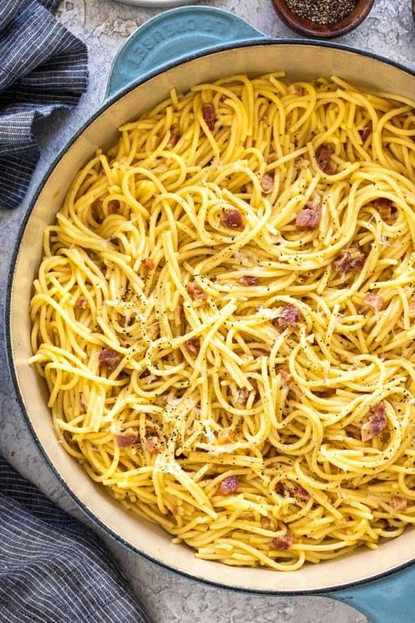 pasta carbonara in a large pot