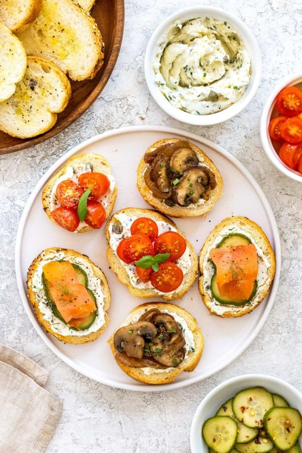 serving platter of different types of crostini