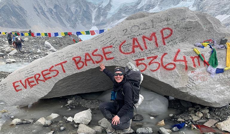Jessica Hepburn at Everest base camp