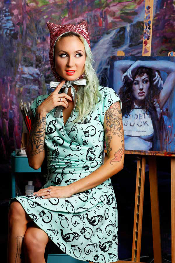 Painted Cats print wrap dress by Jessica Louise