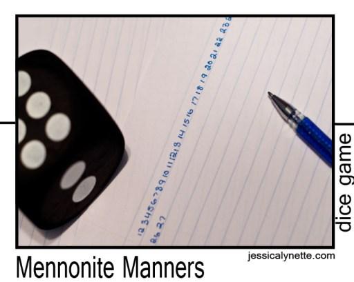 Dice Game Mennonite Manners