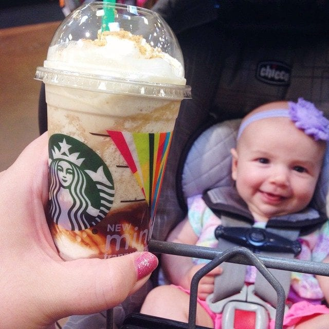 A few of my favorite things: a starbuck's s'more mini frappuccino and a happy baby