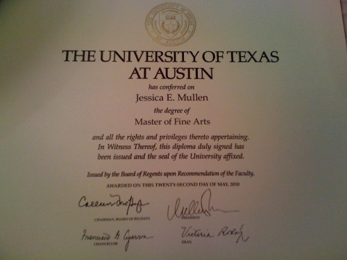 today my MFA is official.