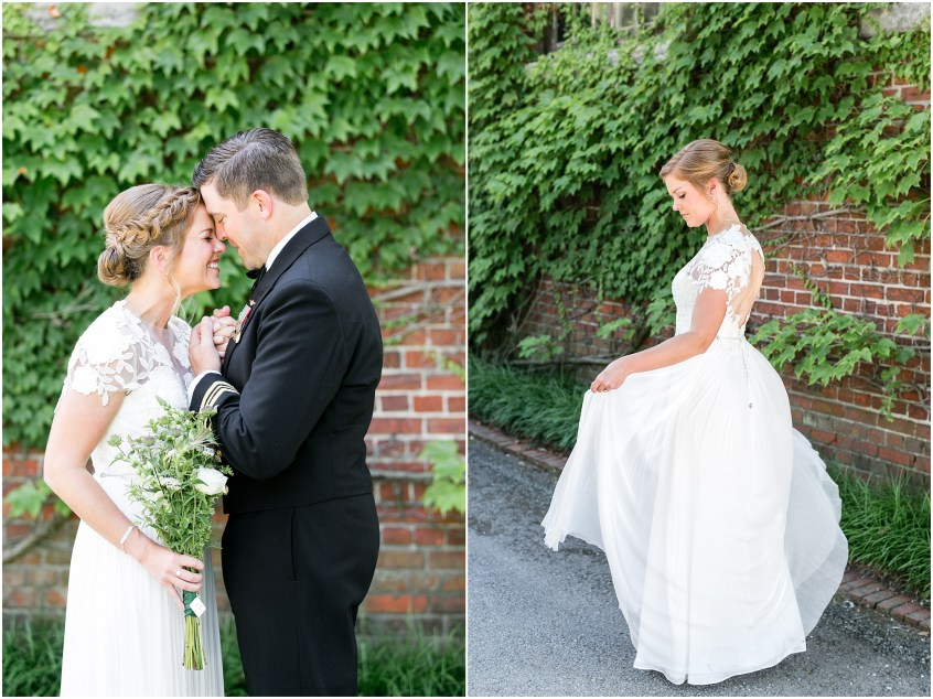 Candid couple on their wedding day at The Hermitage Museum and Gardens in Norfolk, Virginia