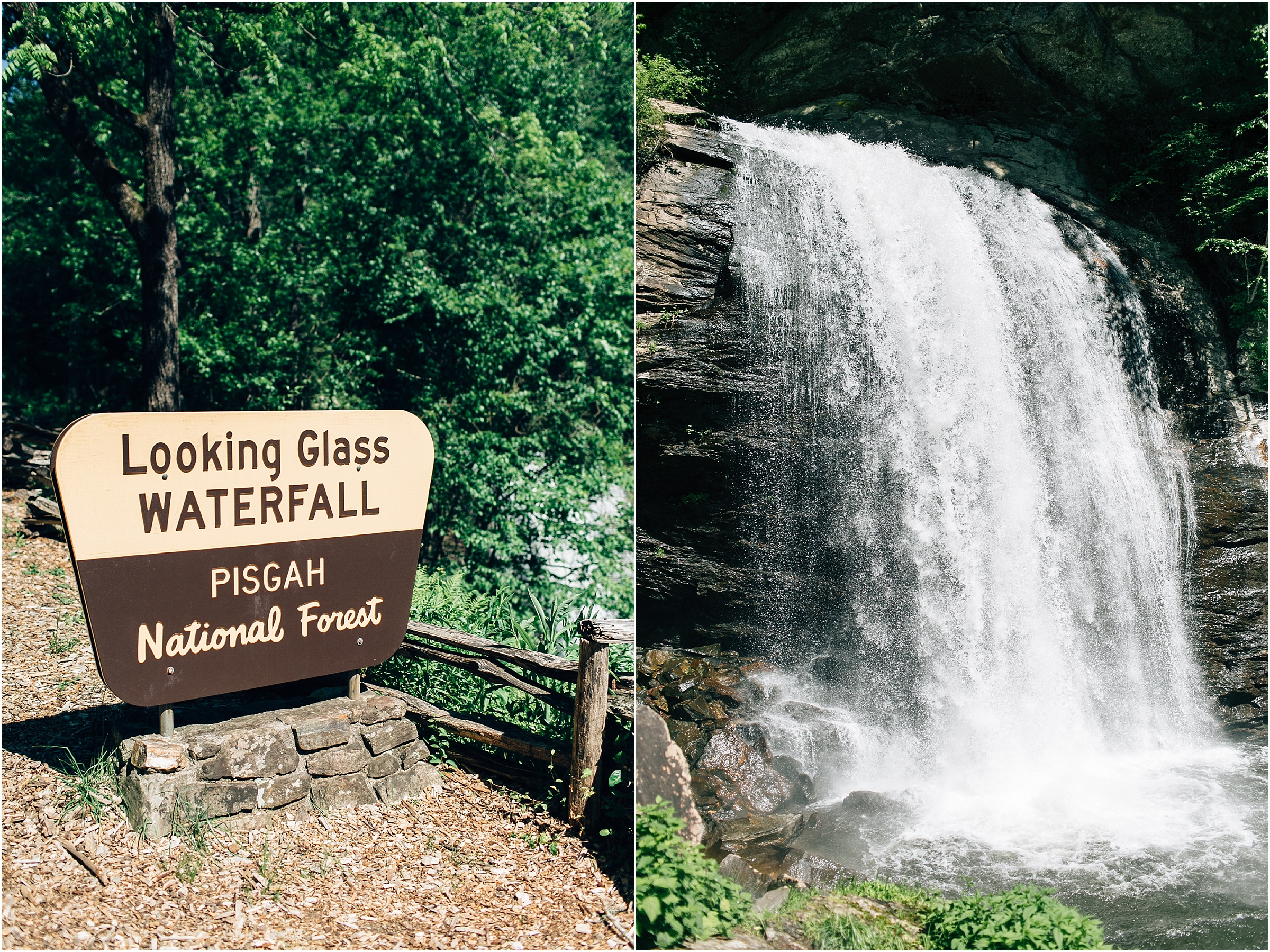 asheville north carolina honeymoon wedding photographer looking glass waterfall