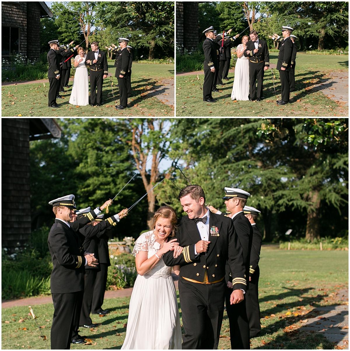 garden wedding at the hermitage museum and gardens reception navy sword arch entrance