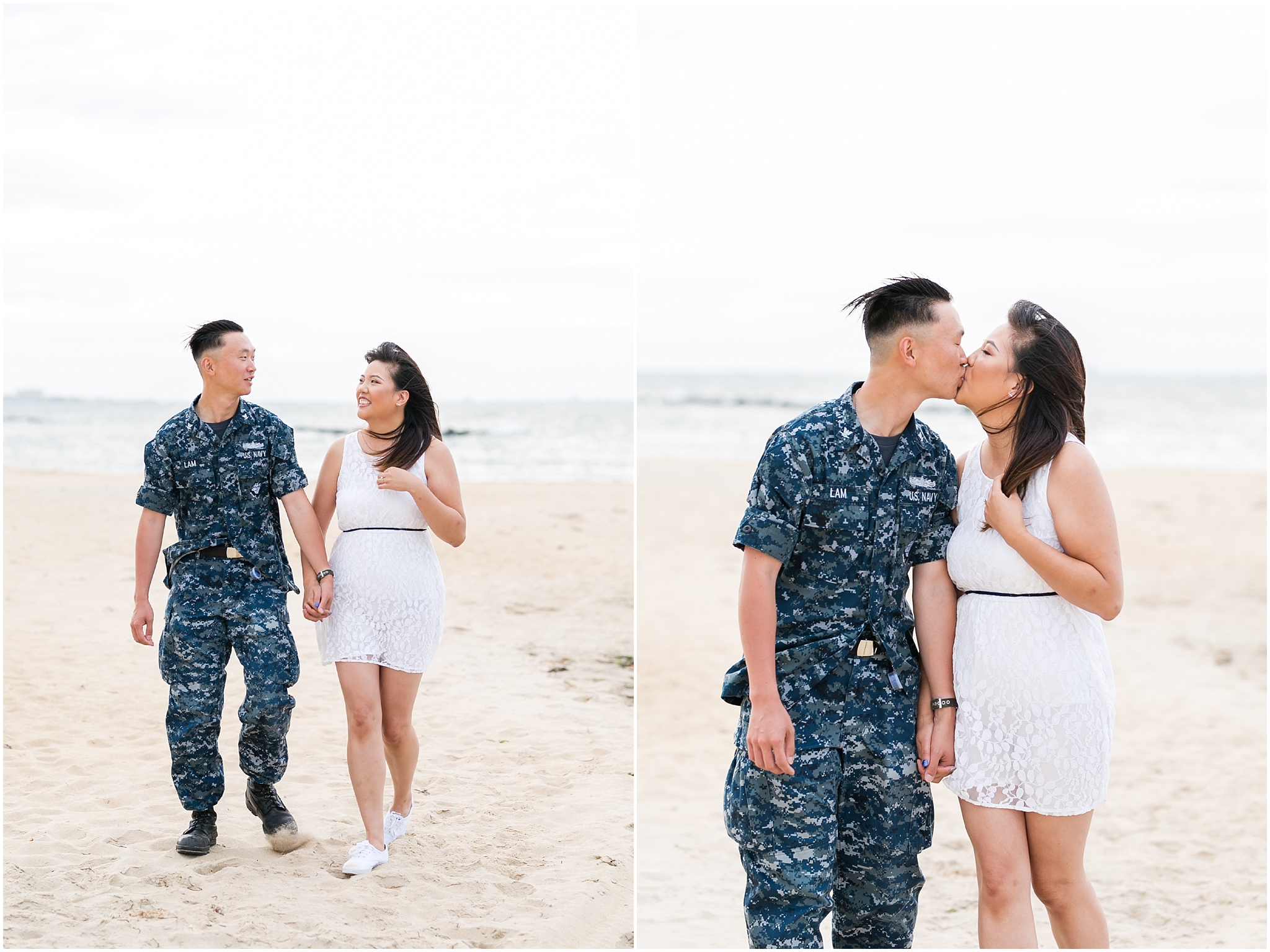 east beach norfolk engagement, engaged couple, chesapeake bay engagements
