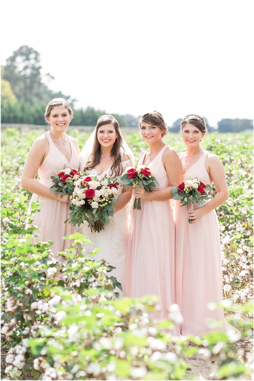 Planter's Club Wedding, Suffolk Virginia, southern wedding, bride and bridesmaids in cotton field