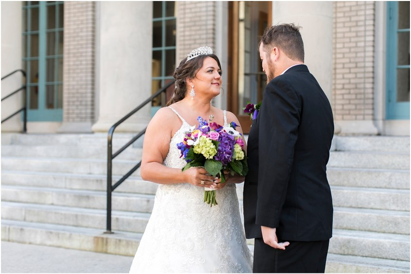 crystal clear event wedding giveaway, historic post office wedding, Waterford event rentals, bride and groom first look