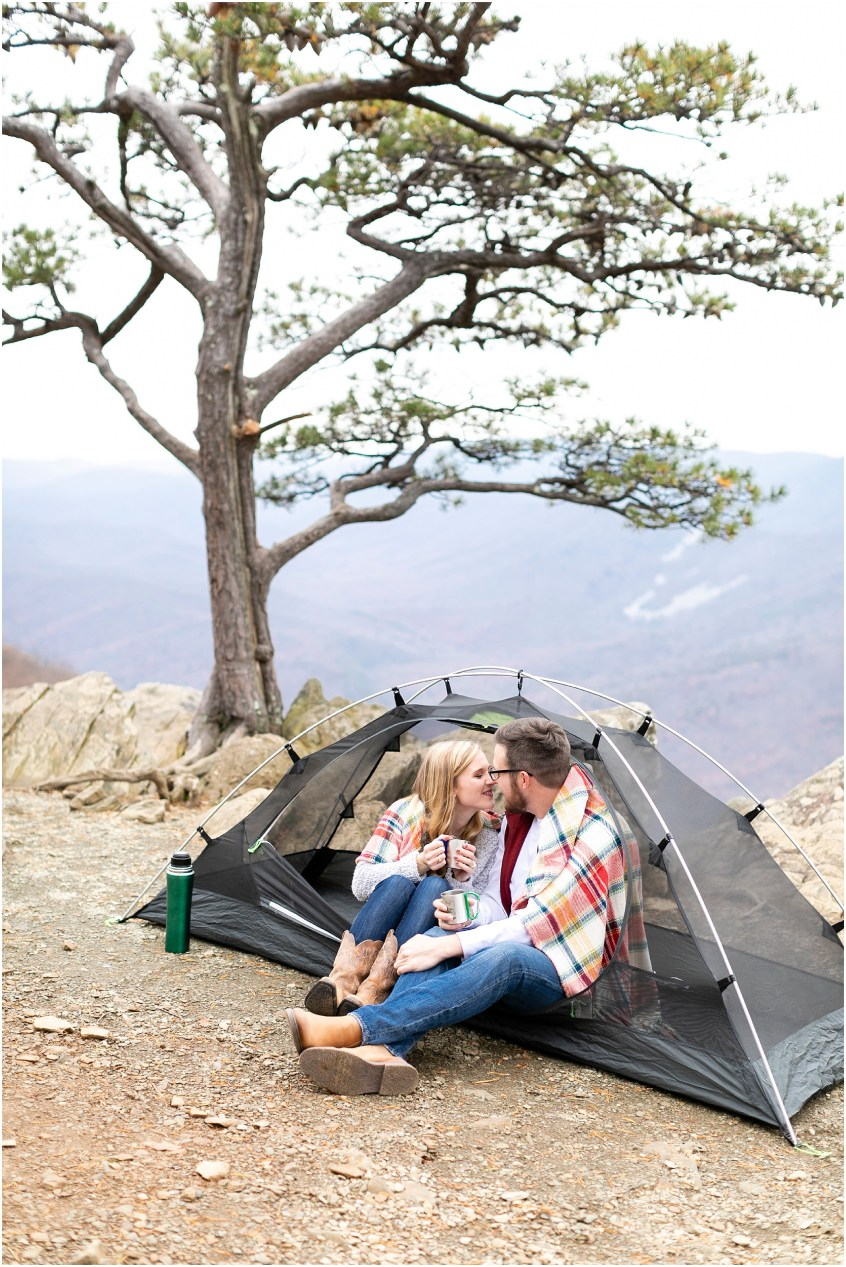 blue ridge parkway engagements, ravens roost candid couple photography, camping couple, hiking couple, adventurous couple, opt outside couple, REI customer