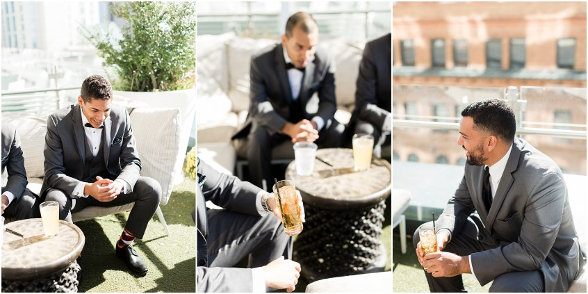 the woman's club of Portsmouth wedding in the fall, groom getting ready at the main Norfolk, rooftop bar