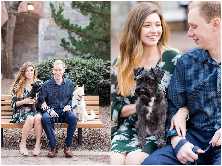 Fort Monroe Anniversary photography, couple with dogs on a bench