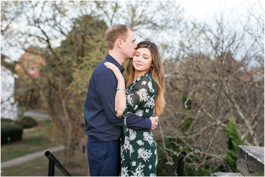 Fort Monroe Anniversary photography, couple kissing on the cheek