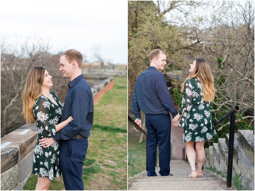 Fort Monroe Anniversary photography, couple walking down the stairs