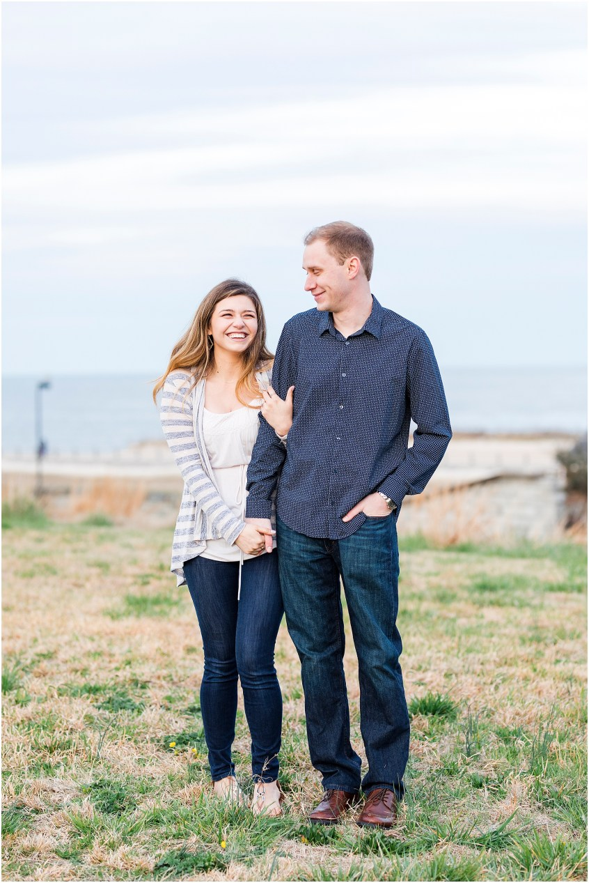 Fort Monroe Anniversary photography, couple walking and laughing together