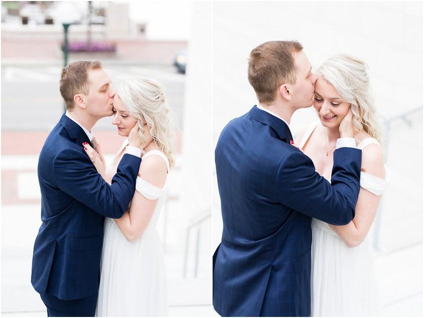 town center Virginia Beach elopement bride and groom