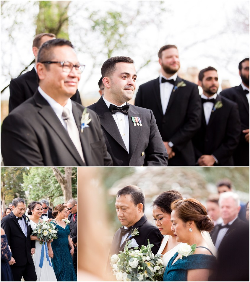 wedding ceremony, spring wedding at the hermitage museum and gardens, Jessica Ryan photography, distinctive event rentals, crafted stems wedding florist, sunkissed events
