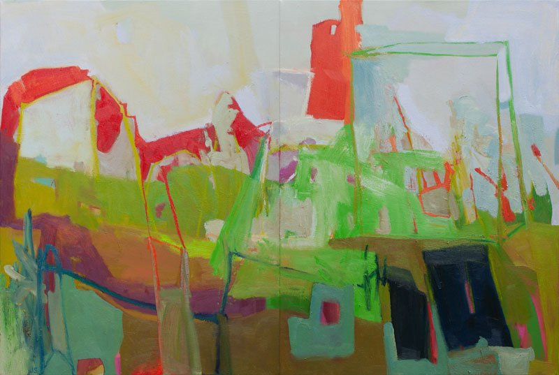 The Field You Think You Own, oil and acrylic on canvas, 40 x 60 inches, 2014