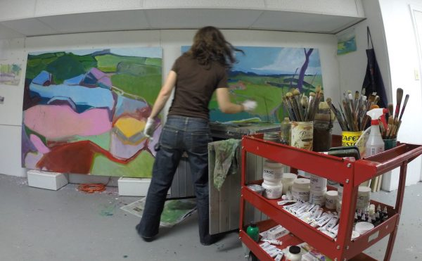 artist jessica singerman painting in studio
