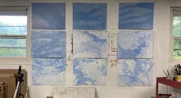sky paintings in studio