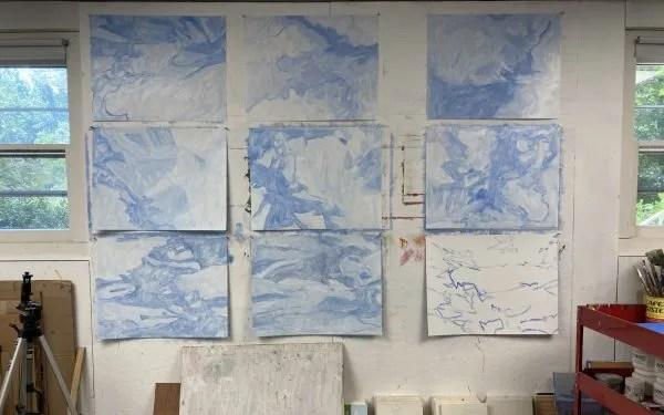 Sky paintings in artist studio