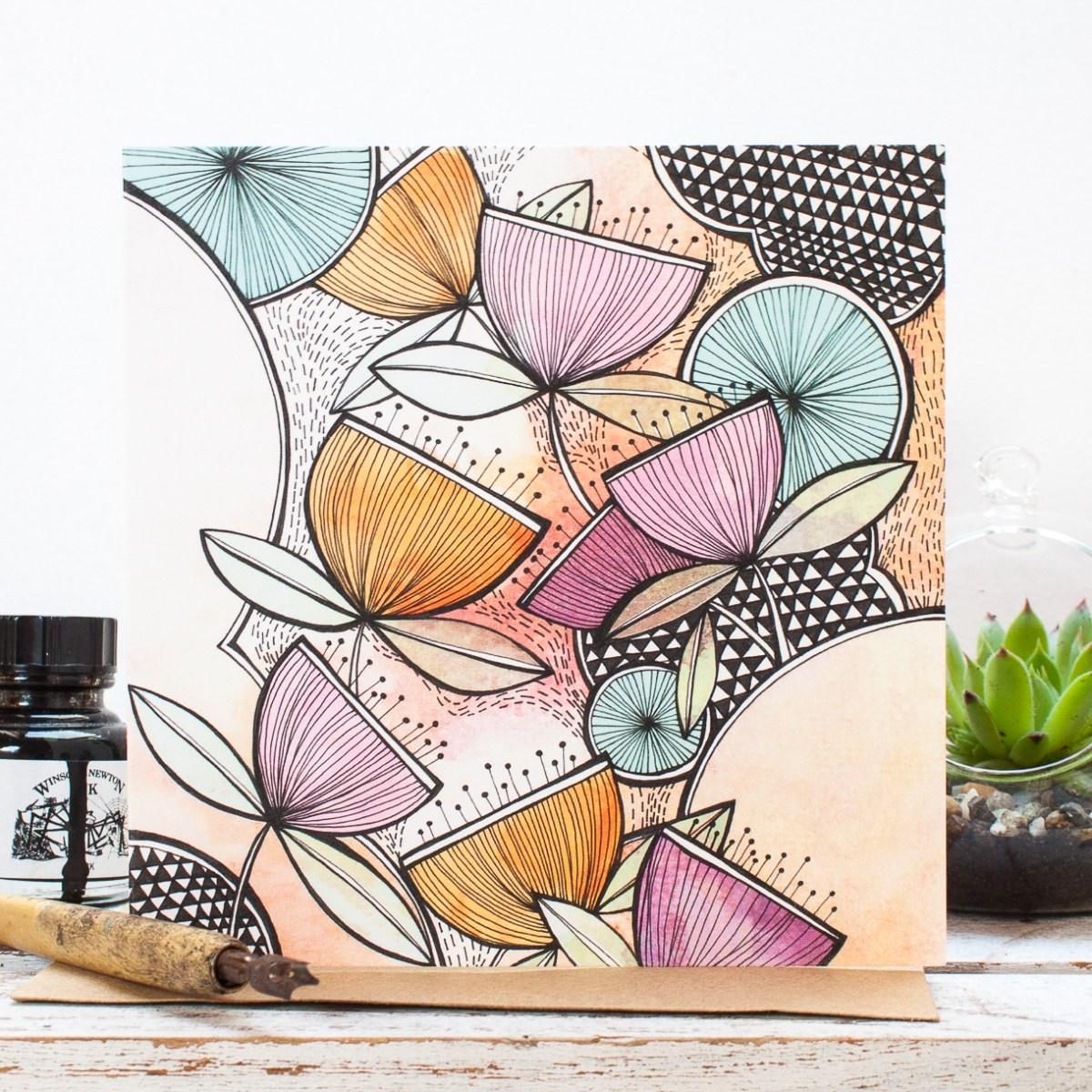 Zen Garden Floral Blank Gift Card