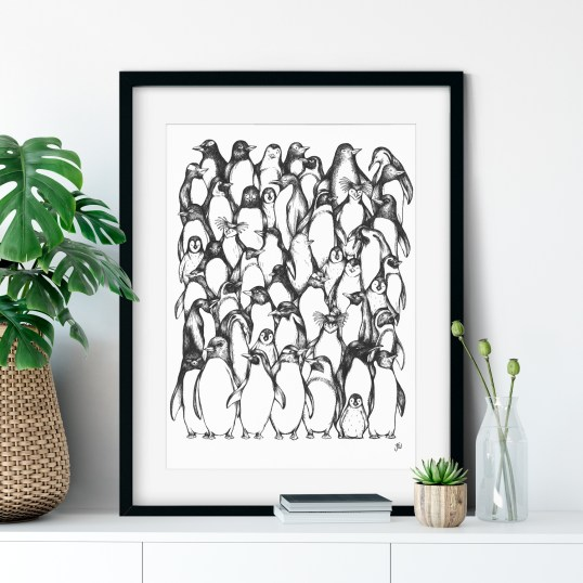 Penguin hand drawn illustration