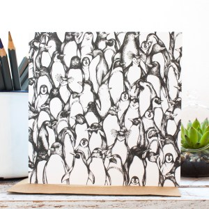 Penguin Waddle Greetings Card, an original illustration in pen by Jessica Wilde Design © Designed in Staffordshire and made in the UK.