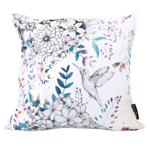 Hummingbird Blossom Throw Cushion, a vibrant botanical pattern with hummingbirds and butterflies. Made in the UK | Jessica Wilde Design ©