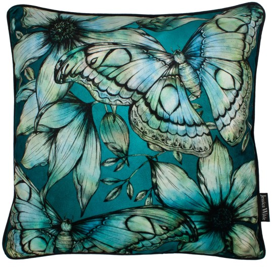 Atlas Moth Velvet Cushion Forest_Jessica Wilde