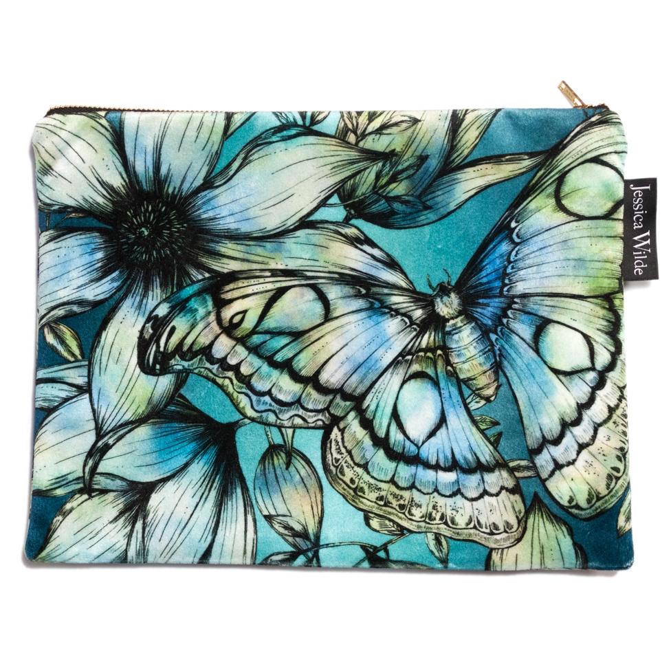 Atlas Moth Velvet Zip Bag | Sapphire