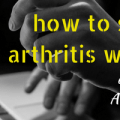 Arthritis foundation fundraiser header, image of hands typing on laptop