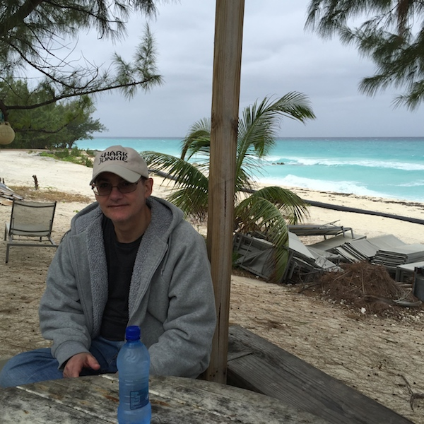 My dad rocking a hoodie by the beach