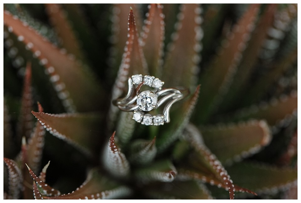 Close up pf bride's vintage wedding ring with succulents at red Barn Studios in Chehalis, WA