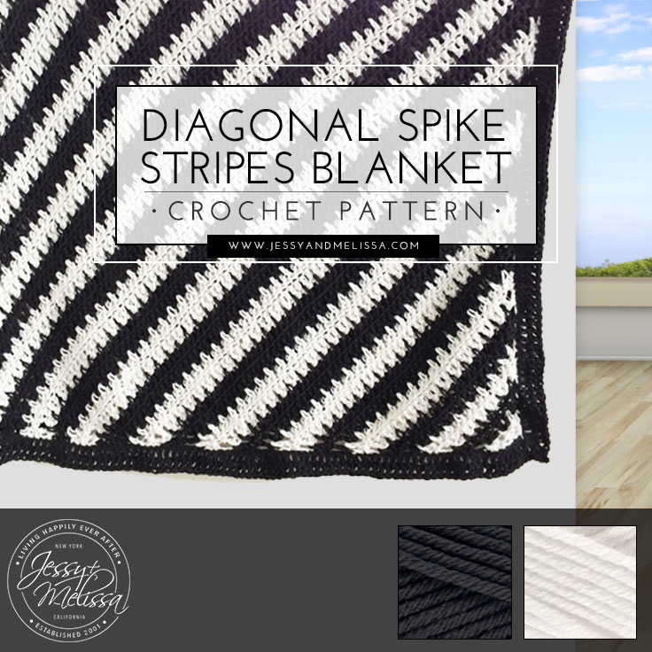 Diagonal Spike Stripes Blanket Crochet Pattern Jessy Melissa