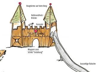 ... so sieht es bald auf dem großen Seilbahn-Hügel mit der vorhandenen Hangrutsche aus - gerade in Produktion ist das Jesteburger Wappen 👍
