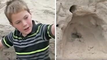 11-letni chłopiec bawił się w piasku na plaży. Gdy zaczął kopać głębiej, dostrzegł czyjąś głowę