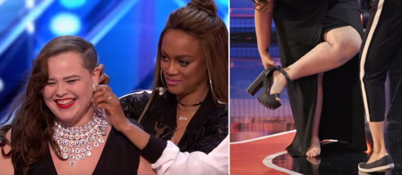 She came into the studio dressed like a start from the 40s. But after only 10 seconds the disappointed jury stopped her performance. This girl showed her talent only after taking off her shoes and necklace! 4
