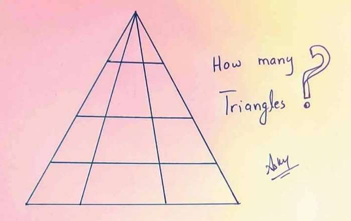 How many triangles do you see? This graphic contains one small detail that is confusing and makes it difficult to find the correct answer 4