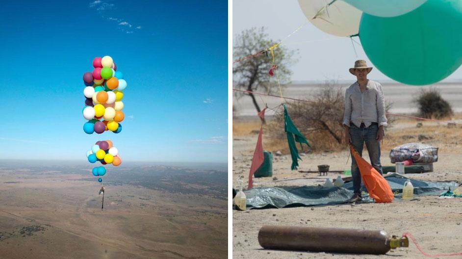 Marzył o tym by latać, więc przywiązał 100 balonów z helem do plastikowego krzesła i wzbił się w powietrze!To był szaleńczy lot