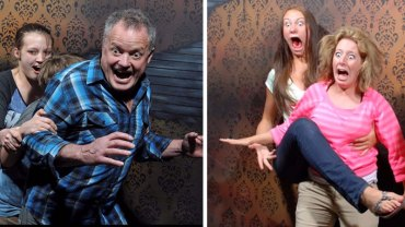 W pewnym domu strachów zamontowywano ukryte kamery i robiono zdjęcia przerażonym ludziom. Efekt okazał się bardzo zabawny