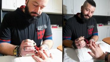 Rosły facet rzucił pracę przy samochodach, by zająć się malowaniem paznokci. Kobiety ustawiają się w kolejkach, by to on zadbał o ich dłonie!