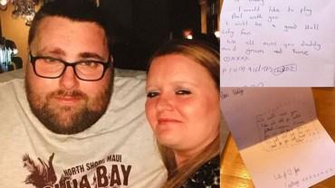 5-letni syn rozczulił mamę, tym jak długo składał literki, by napisać list do nagle zmarłego taty