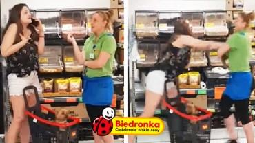 """Agresywna """"Karyna"""" robi zadymę w Biedronce! Ochroniarz był bezradny wobec agresywnej dziewuchy"""
