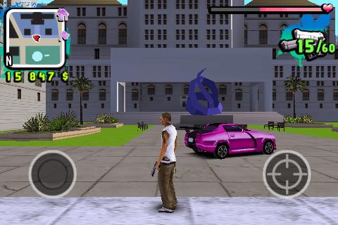 Les bâtiments sont quand même bien modélisés ! Ma voiture de course rose aussi !