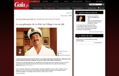 Sur Gala.fr, René des Musclés n'est pas mort, mais Eric oui !