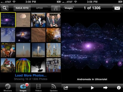 Les images de la NASA - Application iPhone